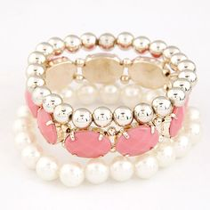 Zinc Alloy Bracelet Set, with ABS Plastic Pearl & Resin, gold color plated, pink, lead & cadmium free, 170mm, Length:Approx 6.69 Inch, 3PCs/Set,china wholesale jewelry beads