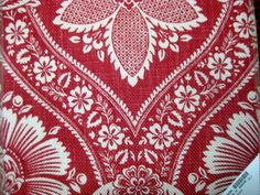 12 x 17 1/2 inch decorator fabric sample red and by pinksewingroom, $3.85