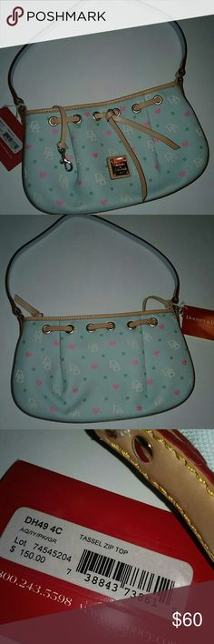 💞🌟💞Dooney & Bourke NWT tag says 150.💞🌟💞 🌟💞Dooney & Bourke NWT Cute Handbag💞🌟💞 10 inches across & 6 inches in length not including strap. It is long enjoy to go on your shoulder and would sit just above your waist. It looks like a light mint color with pink hearts and tan leather. It is new but has scuffs on the bottom  and spot on strap as pictured. It has a zip top. Dooney & Bourke Bags