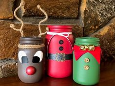 Items similar to ONE Christmas themed Mason Jar Christmas Mason jar decor Christmas jars Christmas decor mason jar decor Christmas mantle Santa decor on Etsy Jam Jar Crafts, Pickle Jar Crafts, Bottle Crafts, Christmas Crafts, Jelly Jar Crafts, Christmas Jam, Christmas Mason Jars, Mason Jar Gifts, Mason Jar Diy