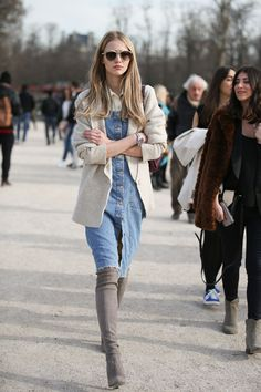 84 Outfit Ideas For Style Extroverts #refinery29 http://www.refinery29.com/2015/03/83675/paris-fashion-week-2015-street-style#slide-49 Knee-high boots, a felt blazer, and a denim jumper can look as classic as a Le Smoking suit.