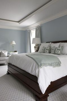 Popular Bedroom Paint Colors that Give You Positive Vibes Luxe Magazine Summer 2014 Sally Steponkus Interiors Master Bedroom Benjamin Moore Windy Sky Blue Master Bedroom, Master Bedroom Makeover, Master Bedroom Design, Home Decor Bedroom, Modern Bedroom, Diy Bedroom, Bedroom Designs, Trendy Bedroom, Paint Ideas For Bedroom