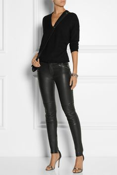 Black stretch-leather Button and concealed zip fastening at front leather (Lamb); Casual Outfits, Cute Outfits, Fashion Outfits, Womens Fashion, Basic Fashion, Fashion Looks, Lederhosen Outfit, Leather Pants Outfit, Legging Outfits