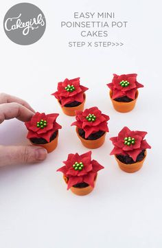 How to Make Mini Poinsettia Pot Cakes Christmas Tree Cupcakes, Easy Christmas Treats, Christmas Cookie Exchange, Christmas Desserts, Holiday Cakes, Holiday Parties, Cake Blog, Easter Cupcakes, Christmas Cooking