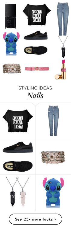 """""""FALL OUT BOY ✌"""" by leah3000 on Polyvore featuring Topshop, Puma, NARS Cosmetics, Bling Jewelry, HEET, Gucci and Yves Saint Laurent"""