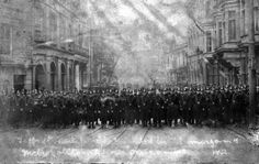 Glamorgan, Pontypridd, Metropolitan Police in Taff Street during the Miners Strike of 1910