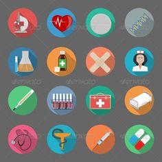 Medicine flat icons set vector graphic illustration