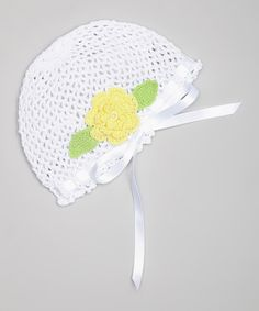 Look what I found on #zulily! White & Yellow Rosette Crocheted Beanie by Pink and Blue Knitwear #zulilyfinds