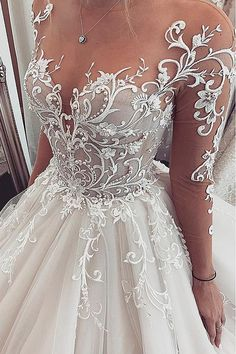 Chic Tulle Jewel Neckline Ball Gown Wedding Dresses With Lace Appliques & Beadings Hochzeitskleid 2019 Hochzeitskleid 2019 NEW! Chic Tulle Jewel Neckline Ball Gown Wedding Dresses With Lace Appliques & Beadings Hochzeitskleid 2019 Top Wedding Dresses, Wedding Dress Trends, Bridal Dresses, Wedding Gowns, Wedding Ideas, Wedding Hacks, Sheer Wedding Dress, Wedding Band, Modest Wedding