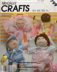 McCalls 2246 799 Doll Clothes Pattern for Soft Dolls 12 Inch Vintage Sewing Pattern by mbchills on Etsy