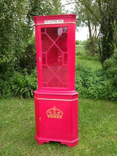 British Telephone Box Corner Cabinet In Emperor's Silk on Etsy, $262.88