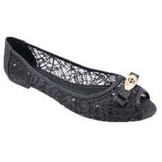 Adrianna Peep Toe Flats BLACK GLITTER WOMEN ** Want additional info? Click on the image.