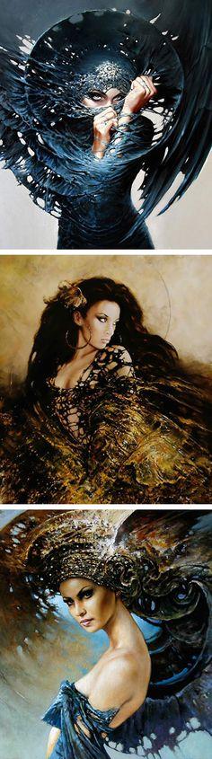 Artist: Karol Bak, Poland {contemporary surreal fantasy figurative beautiful female head décolletage woman face torso portrait painting detail} <3 Mysterious !!