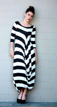 Alembika Long Eve Dress Off Center Drape Size 1 2 3 4 5 6 Black White Stripe | eBay