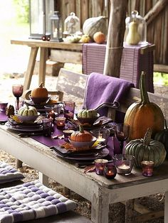 I love the color purple!  It makes everything surrounding it look so much richer.  Great fall tablescape indoors or out