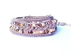 5-wrap bracelet, macrame bracelet, boho chic , fine silver nuggets, fine silver horn charm, Swarovski, mother of pearl on beige cotton cord