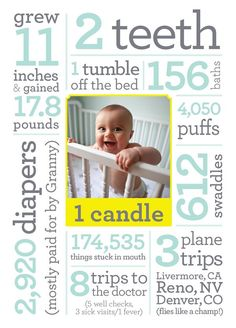 First birthday - I dig the idea, but would pick different stats to memorialize