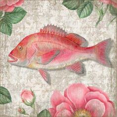 Collect both of these for a fun beach cottage look. #pinkfish #beachcottageart