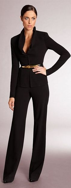 Donna Karan ~  perfect suit: belted jacket, straight pants