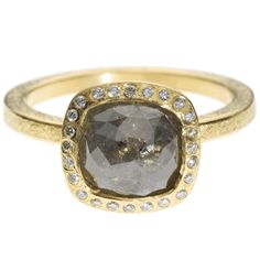 trdr481-18ky-sq18 | 18ky gold with gray square cut diamond (2.57ctw) and white brilliant cut diamonds (.12ctw)