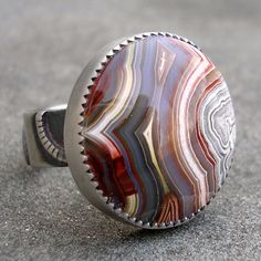 Agate Silver Ring - Sterling Silver Ring - Crazy Lace Agate Ring - Bezel Set - US Size 8, by lsueszabo