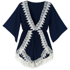 57fd25dea87 Choies Navy Plunge Neck Lace Embellished Romper Playsuit ( 12) ❤ liked on  Polyvore featuring