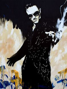 "David Arquette l Acrylic and spray on 36"" x 48"" canvas"