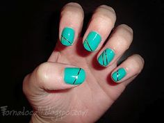 """china glaze """"four leaf clover"""" polish with silver tape stripes - simple but fun! Silver Nail Polish, Gel Polish, Green Nails, Black Nails, St Patricks Day Nails, Nail Art For Beginners, Striped Nails, Super Nails, Birthday Design"""