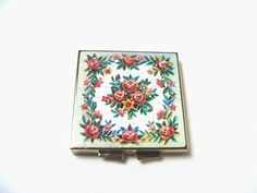 Vintage Cross Stitch Graphic Pill Box Compact by MoonulaVintage