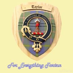 Clan Taylor Tartan Woodcarver Wooden Wall Plaque Taylor Crest 7 x 8