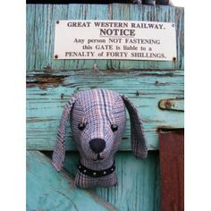 Faux taxidermy, fake taxidermy , shabby chic, country house, Dog trophy head. Tweed fabric.