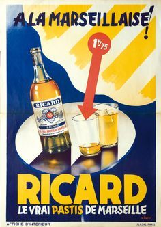 Vintage French advert  poster reproduction Pastis Olive