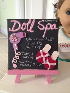 American Girl Doll Spa Sign and Stand by lilyvictoria on Etsy, $15.00