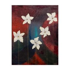 NOVICA Modern Style Oil on Canvas  Flower Painting from India ($120) ❤ liked on Polyvore featuring home, home decor, wall art, backgrounds, art, painting, modern and freestyle, flower oil painting, white paintings and white canvas painting