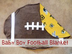 DIY - football blanket tutorial      One yard of brown fabric      One yard of patterned fabric      1/4 yard of white fleece (or some type of fabric that doesn't fray)      Brown thread      White thread  Start by folding your brown fabric in half. Then in half again....