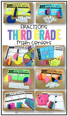 Teaching fractions is fun! Math tasks with fractional parts help students to visualize parts of a whole. There are ten total centers that cover fractions numbers lines, comparing fractions, equivalent fractions, and fractions in word problems. Fill your third grade math centers/rotations with these activities. To learn more about Math Centers and Fractions, visit www.tunstallsteachingtidbits.com