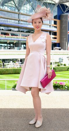 Royal Ascot, June 15, 2016. Bucking the trend for high heels, a racing fan looked pretty as a picture in jewelled flats and an asymmetric hemmed dress