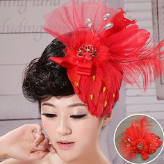 Red sequined wedding flower head
