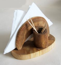 Rustic Oak Wood Napkin Holder, Wooden Napkin Stand and Toothpick Holder, Organic Wood Country Decor, Log Cabin Decor
