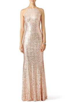 RENT THE RUNWAY - Blush Sequin Racerback Gown by Badgley Mischka for $80 - $100 only at Rent the Runway.