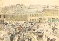 Targ Za Żelazną Bramą, akwarela Stanisława Masłowskiego z 1884