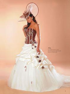 Robe mariage bordeaux ivoire