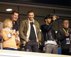 David Beckham y Lewis Hamilton en la Super Bowl