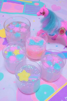 Kawaii pastel candles with glitter. ♡