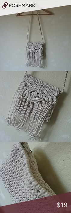 Cream Ivory festival hippie boho fringe purse bag Cute fringe purse!  ♡Price is FIRM♡  Never used. No defects.  I bought this in Japan last summer. No name brand.  Zips along the top of purse  Shoulder strap is 19.5 in. long Top of shoulder strap to bottom of purse, including the fringe, is 29.5 in. long Bags Shoulder Bags