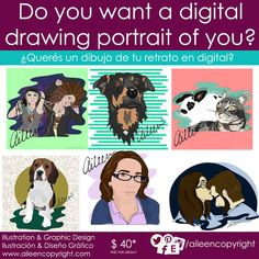 Digital Portraits by aileencopyright on Etsy