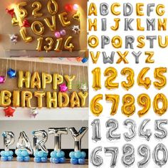 "16"" Gold foil balloons letter Alphabet balloons gold or silver color alphabetic numeric balloons for parties wedding bridal shower US Seller"
