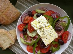 My all-time favorite salad.  Greek horiatiki salad (minus bp and onion). Grew up on this!