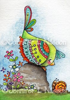 ACEO Chit Chat whimsical bird snail art card
