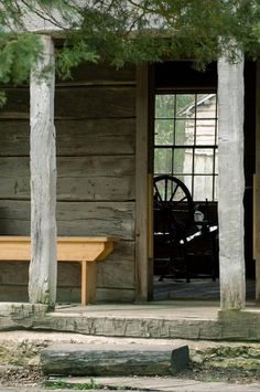 Peek Into Cabin Door, Old Spinning Wheel
